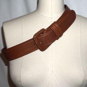 COACH wide leather belt Medium British Tan